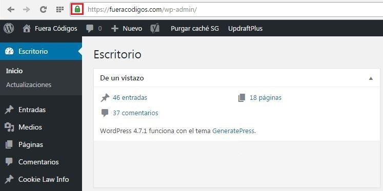 Panel de administracion WordPress seguro