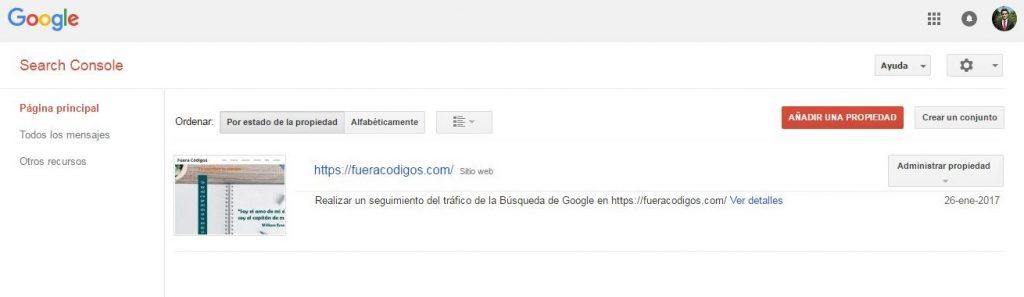 Google Search Console Administrador