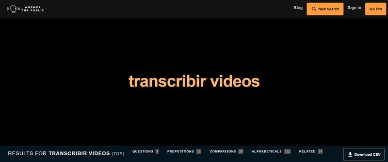 Answer The Public, transcribir-videos