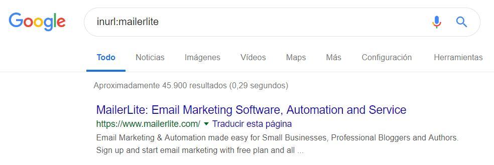 Google comando inurl