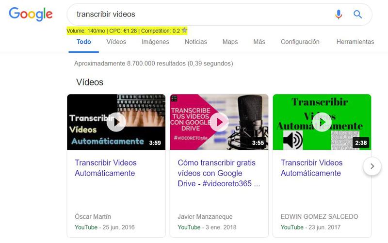 """Keywords """"transcribir vídeos"""""""