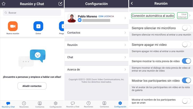 Configuración de la app