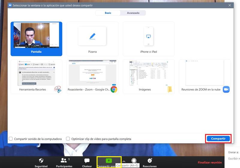 Compartir pantalla en Zoom