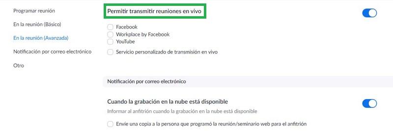Configuración para emitir en Facebook y YouTube