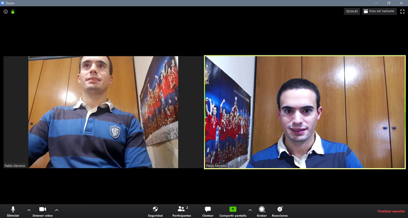 Interfaz de las reuniones en PC
